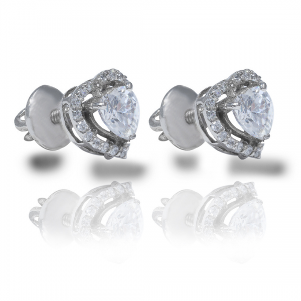 Best Customized Heart Solitaire Earrings 92.5 Hallmarked India 2021